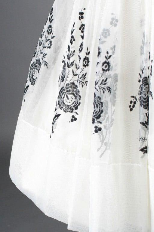 Vintage 1950's White Chiffon Flocked Floral Cocktail Dress image 5