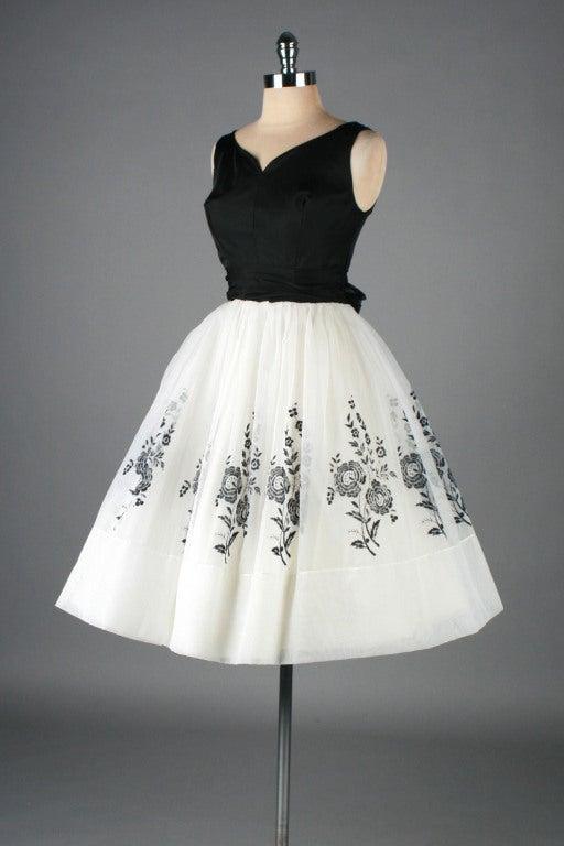 Vintage 1950's White Chiffon Flocked Floral Cocktail Dress image 7