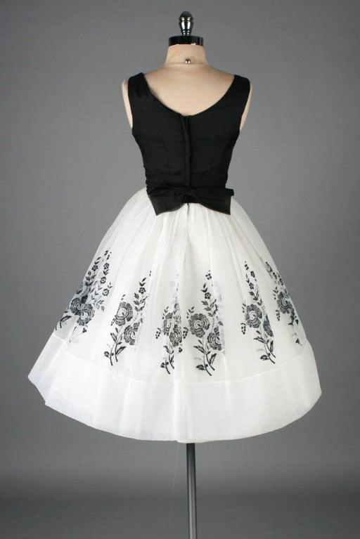 Vintage 1950's White Chiffon Flocked Floral Cocktail Dress image 8
