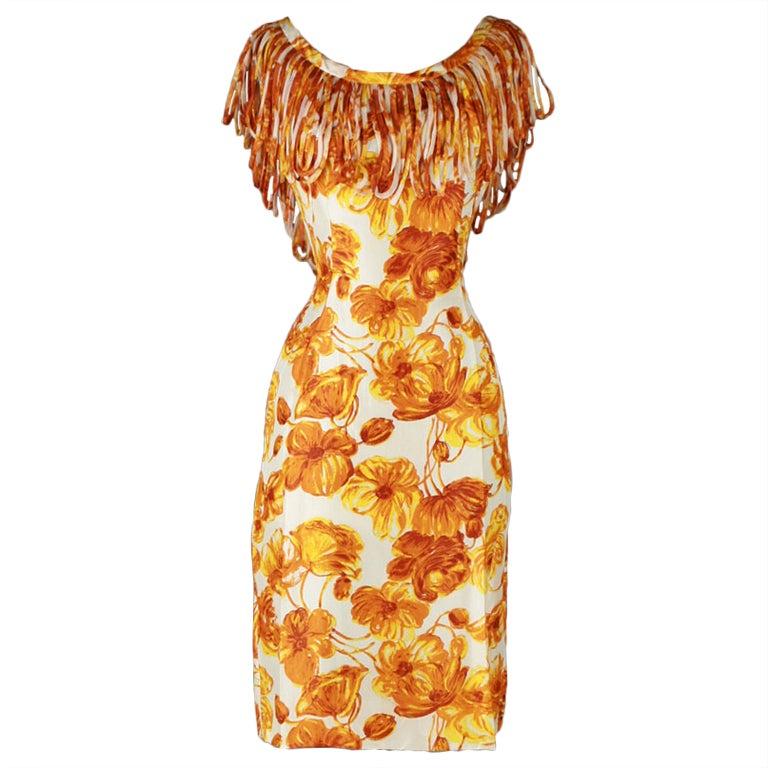 Vintage 1950 39 S Anita Modes Orange Floral Fringe Collar Dress At 1stdibs