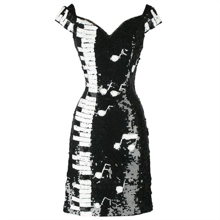 Vintage 1980s Black White Piano Keys Sequins Mini Dress At