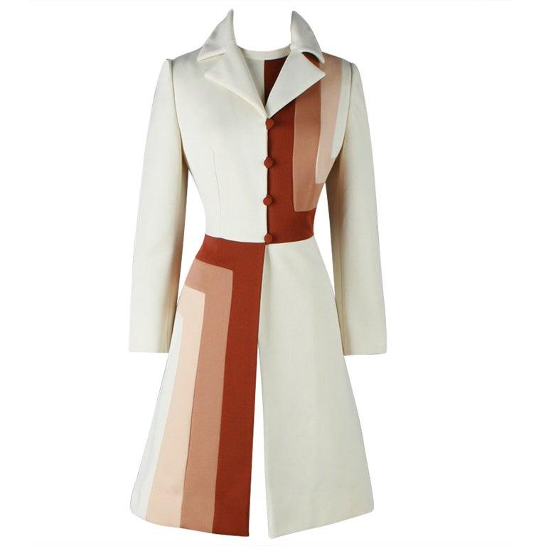 Vintage 1970 S Lilli Ann Ombre Optical Print Jacket Dress