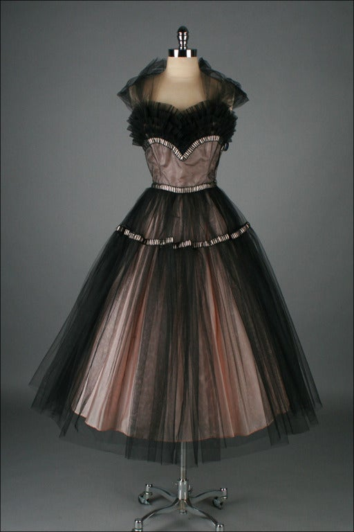 vintage 1950s emma domb pink black tulle cocktail dress