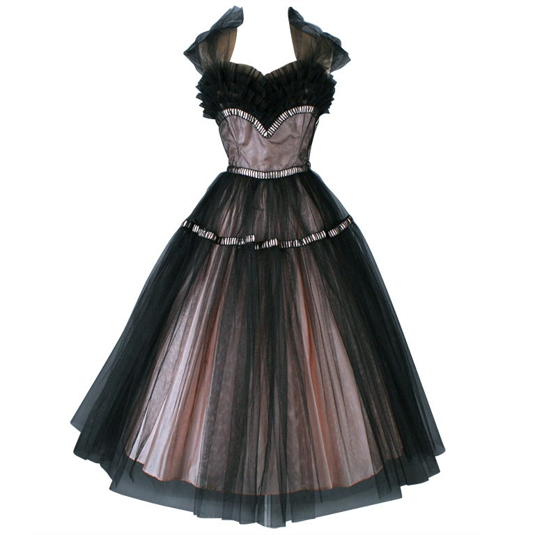Vintage 1950s Emma Domb Pink Black Tulle Cocktail Dress