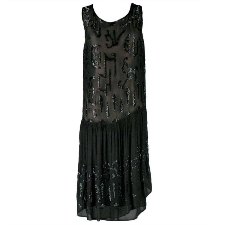 Vintage 1920S Black Silk Crepe Glass Beaded Flapper Dress -3386