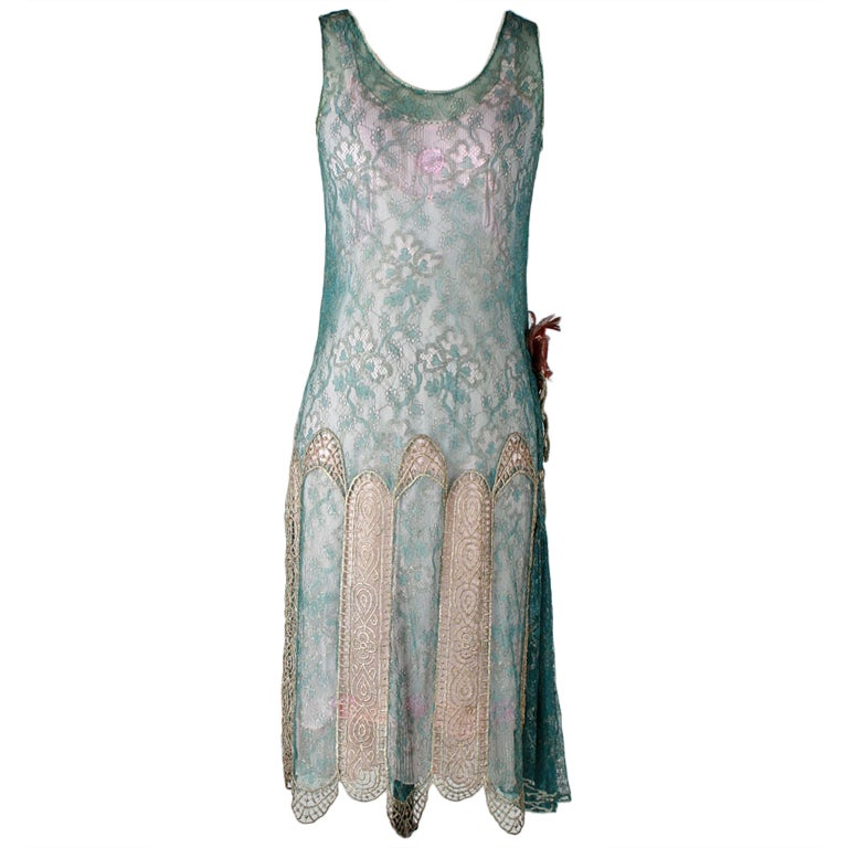 Vintage 1920's Teal Lace Metallic Embroidery Flapper Dress at 1stdibs
