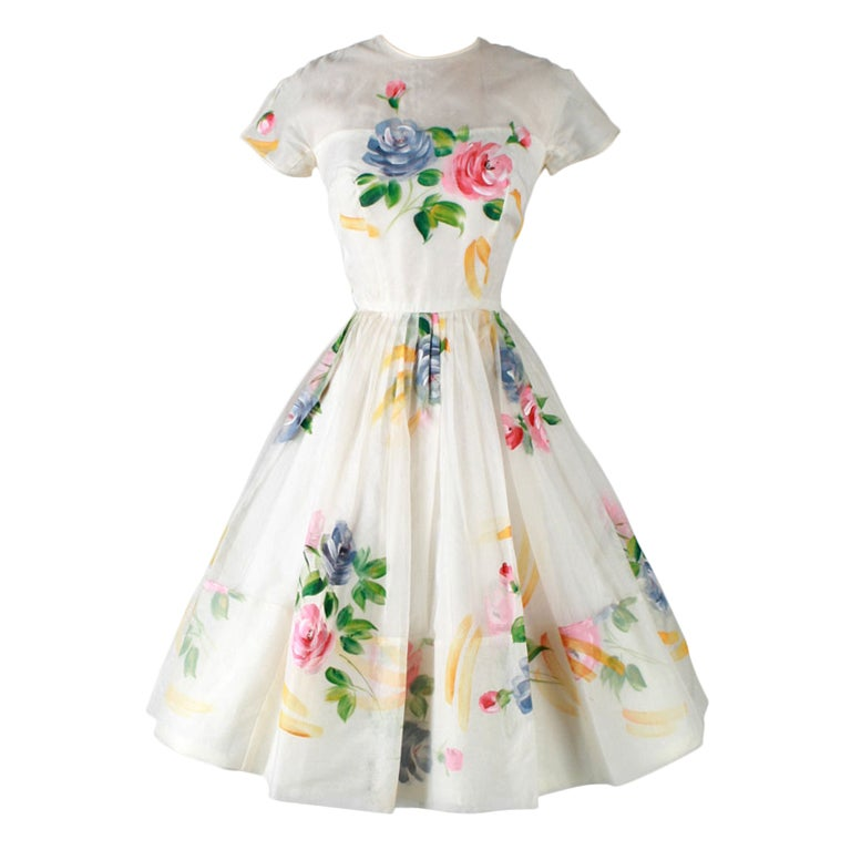 vintage 1950 39 s ivory organza hand painted flowers dress at