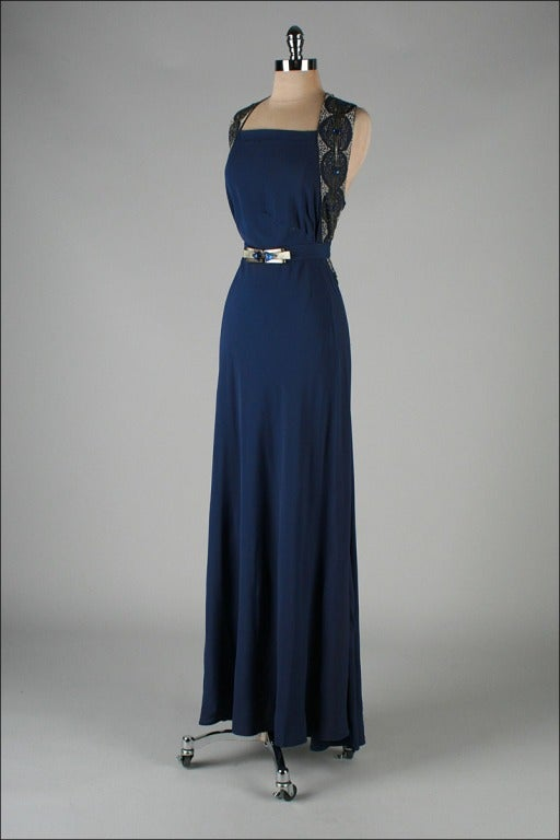 Vintage 1930 39 s petrol blue jeweled bias gown with belt at for Costume jewelry for evening gowns