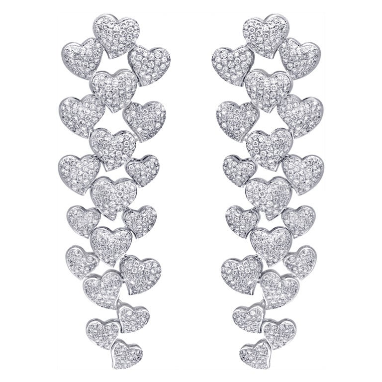 Long Hanging Diamond Earrings For Sale at 1stdibs