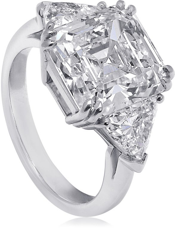 square emerald cut three engagement ring for
