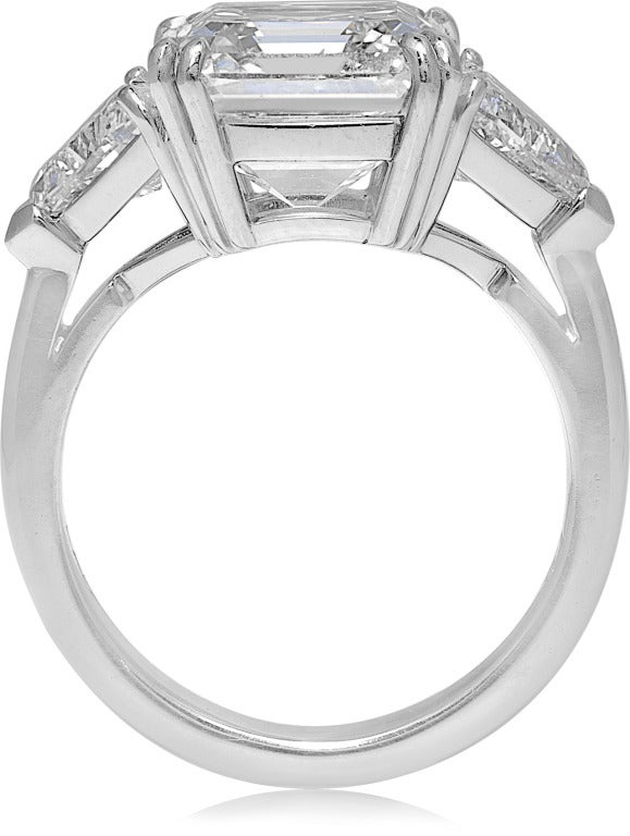 Square Emerald Cut Diamond Three Stone Engagement Ring For Sale at