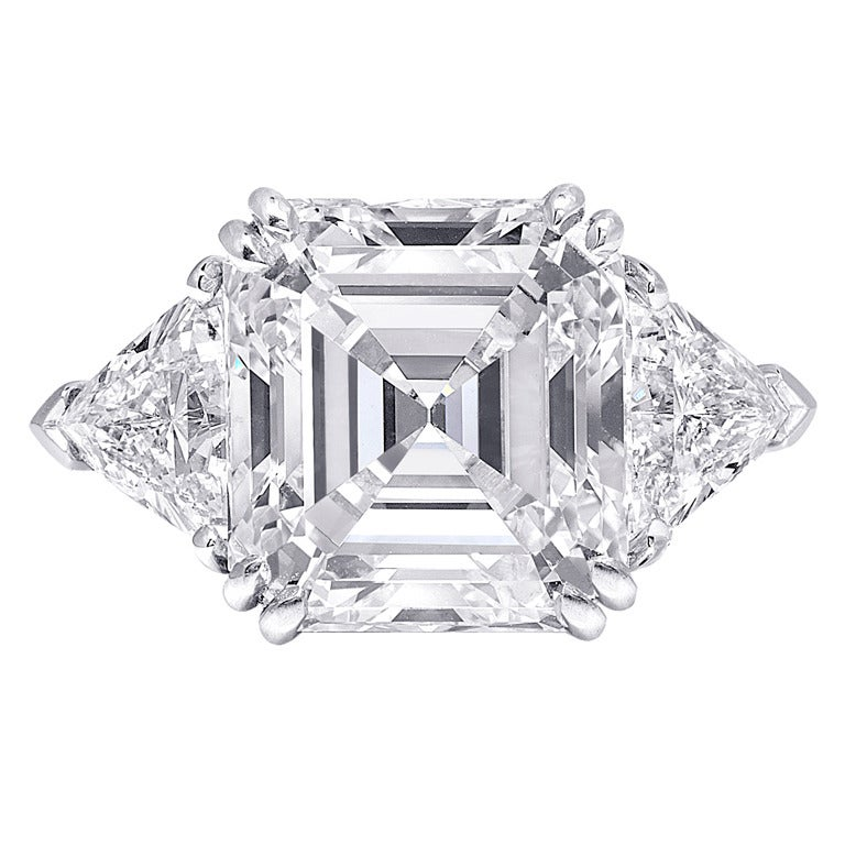 Square Emerald Cut Diamond Three Stone Engagement Ring For Sale at 1stdibs