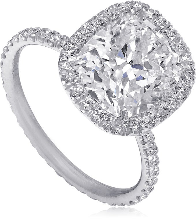 cushion cut engagement ring pave halo image 2
