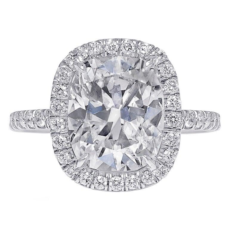 cushion cut engagement ring pave halo at 1stdibs