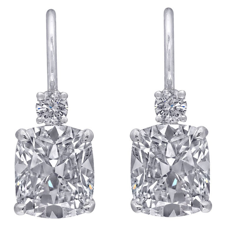 Diamond Platinum Drop Earrings 1