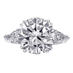 5.02 Carat F Color Round Diamond Engagement Ring