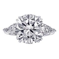 5.02 carat F color Round Diamond Engagement Ring