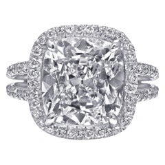 Cushion Cut 5.64 carat Diamond Halo Engagement Ring