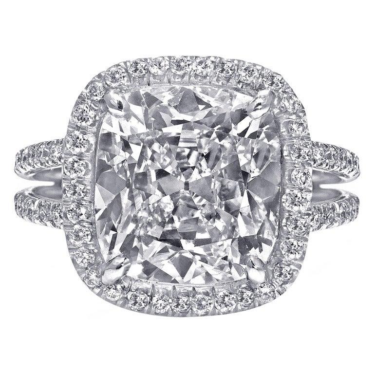 Cushion Cut 5.64 Carat Diamond Halo Engagement Ring For Sale