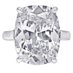 Ten Carat Cushion Cut Diamond Solitaire Ring