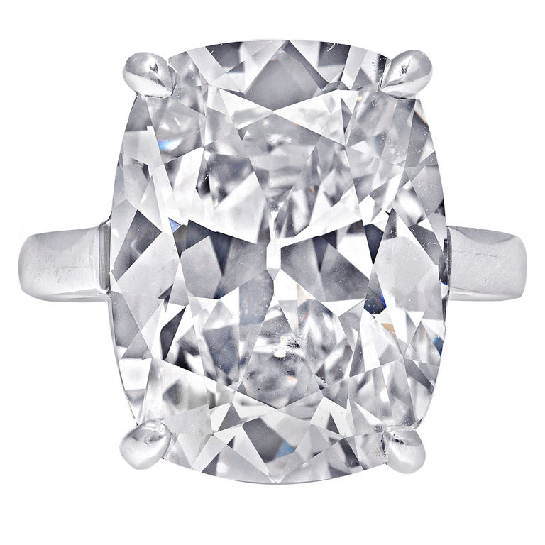 Ten Carat Cushion Cut Diamond Solitaire Ring For Sale At
