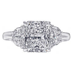4.16 Carat Radiant-Cut Three Stone Engagement Ring