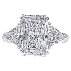 5.08 Carat Radiant-Cut Three Stone Engagement Ring