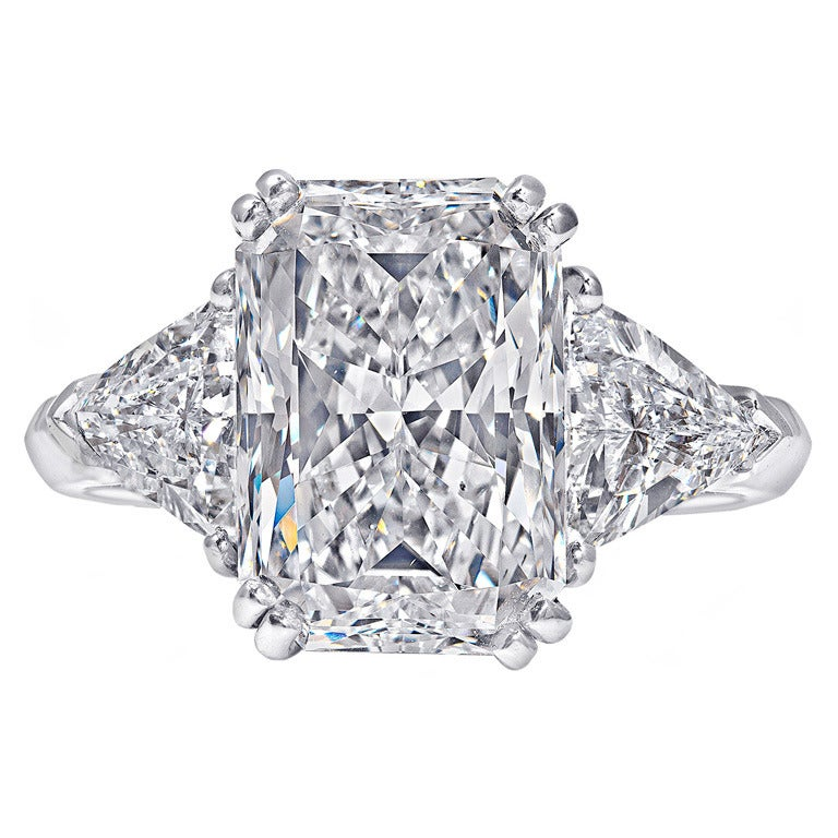 5 08 Carat Radiant Cut Three Stone Engagement Ring For Sale at 1stdibs