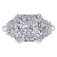 5.01 Carat Radiant-Cut Three Stone Engagement Ring