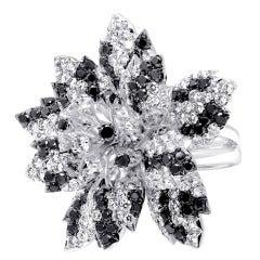 Black White Diamond Flower Ring