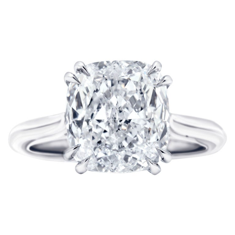 Flawless 4 Carat Solitaire Engagement Ring at 1stdibs