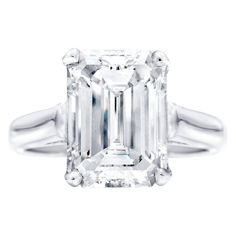 Solitaire Emerald Cut Diamond Engagement Ring at 1stdibs