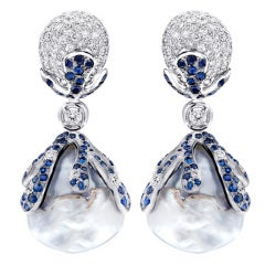 Unique Diamond, Sapphire & Pearl Earrings