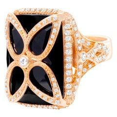 Rose Gold Black Onyx & Diamond Ring: