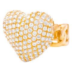Pave Diamond Heart Ring