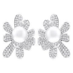Large Peal & Diamond Earrings