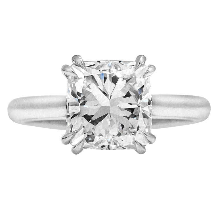3 01 carat Cushion cut F color Solitaire Engagement Ring at 1stdibs