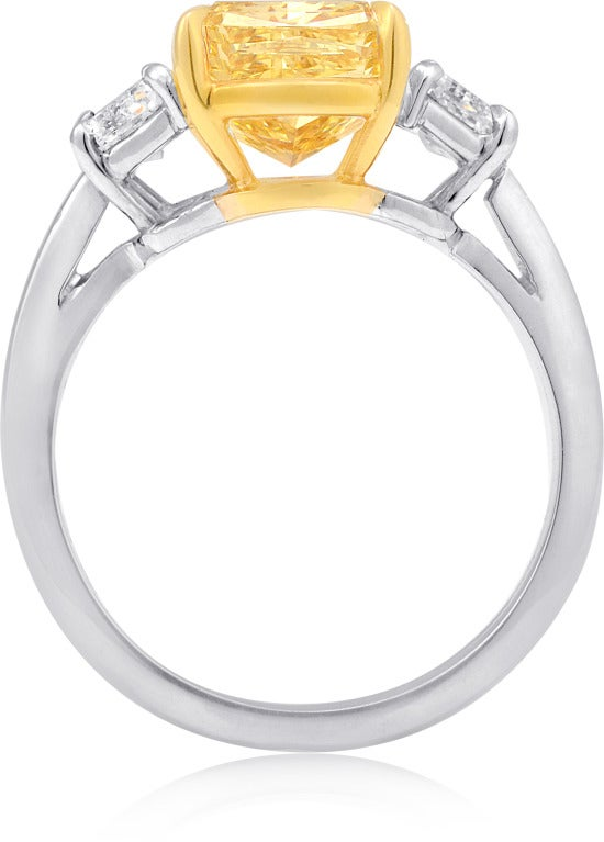 4.01 carat Cushion-cut Fancy Intense Yellow Diamond Engagement Ring 2
