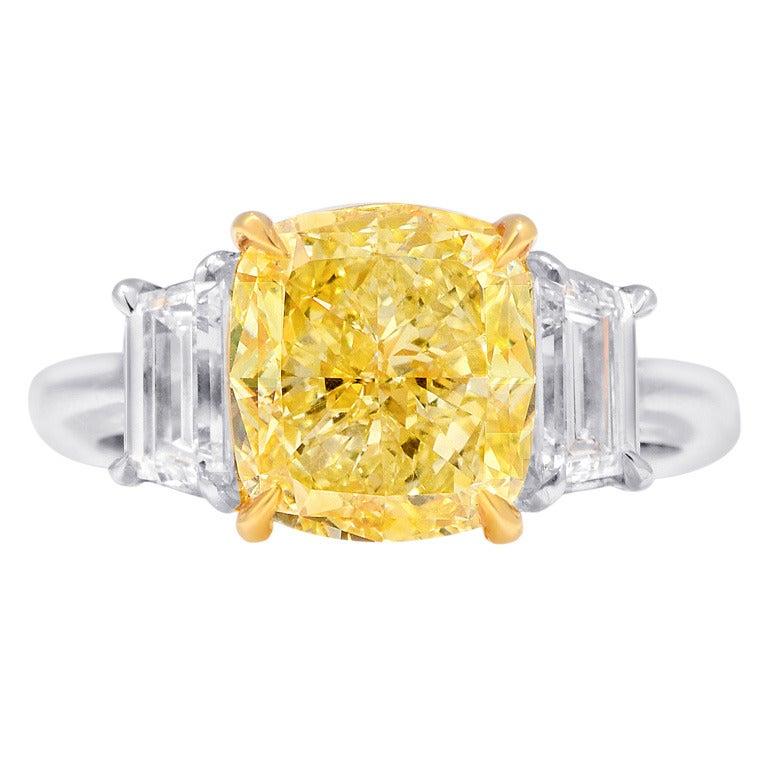 4 01 carat Cushion cut Fancy Intense Yellow Diamond Engagement Ring at 1stdibs