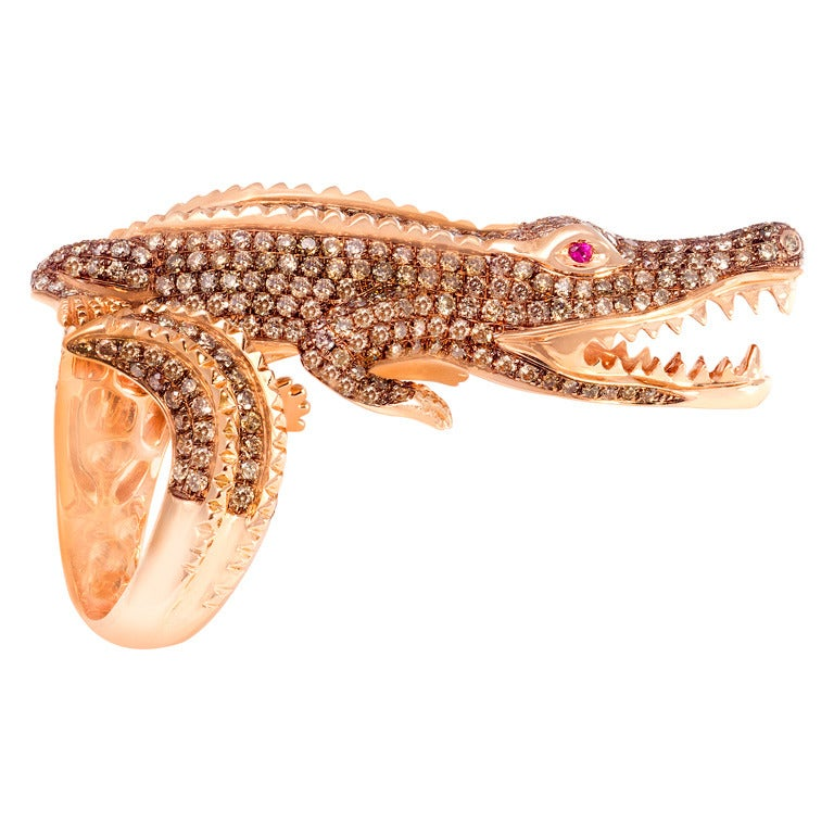 Alligator Pink Gold Diamond and Ruby Cocktail Ring