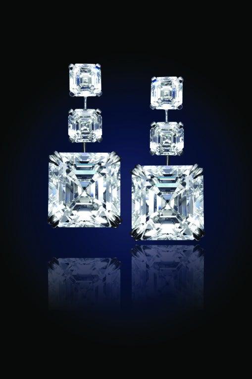 24.81 Carat Asscher-Cut Diamonds Earrings 3