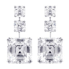 24.81 Carat Asscher-Cut Diamonds Earrings