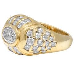 Diamond Gold Bombe Ring