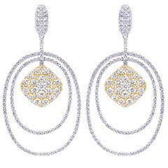 Diamond Oval Chandelier Earrings