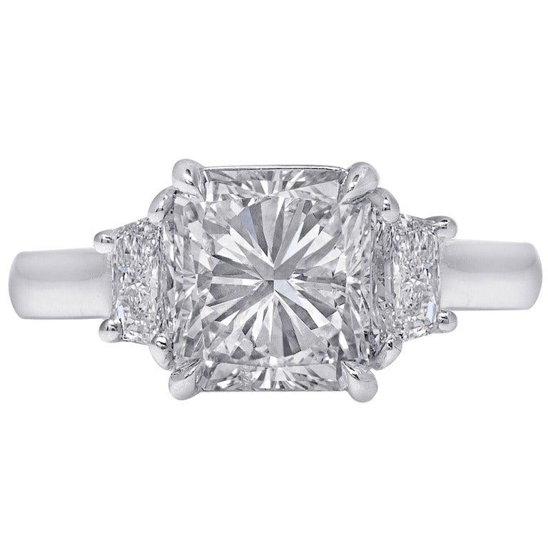 2.08 Carat Radiant-Cut Diamond Platinum Engagement Ring