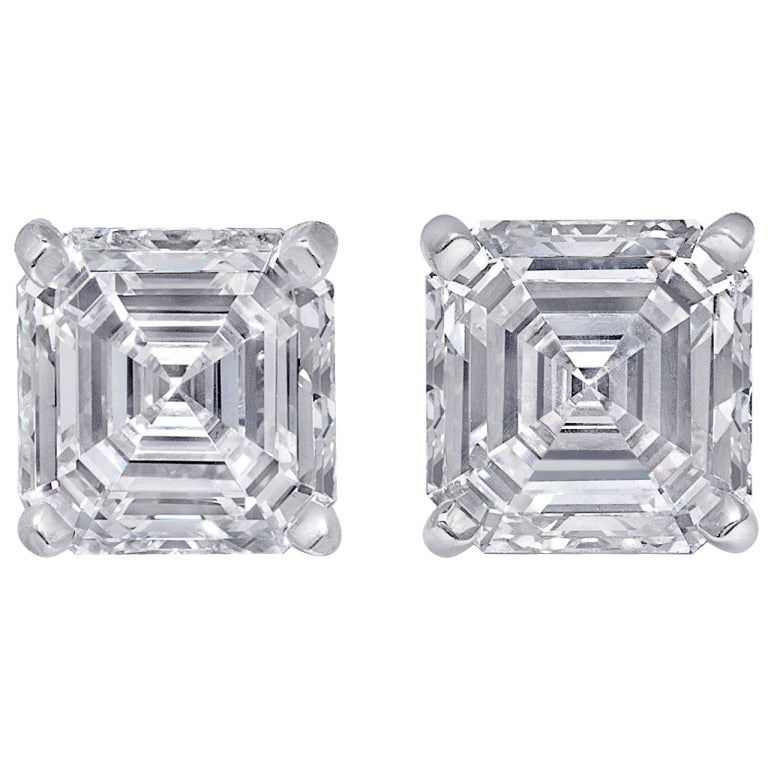 4 09 Carats Asscher Cut Diamond Gia Stud Earrings For Sale