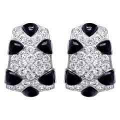 Diamond Onyx Huggie Earrings