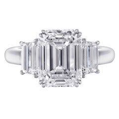 5.59 Carats Three Stone Diamond Platinum Engagement Ring