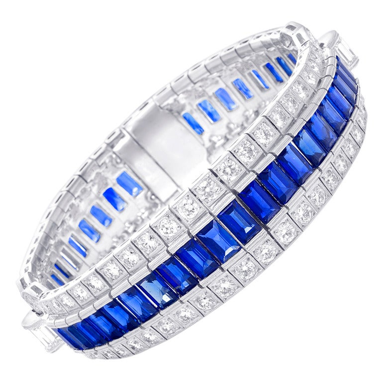 Beautiful Sapphire and Diamond Bracelet For Sale