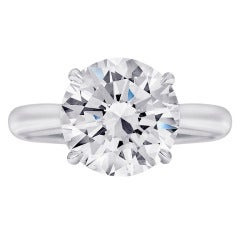 4 Carat Round Diamond Platinum Engagement Ring